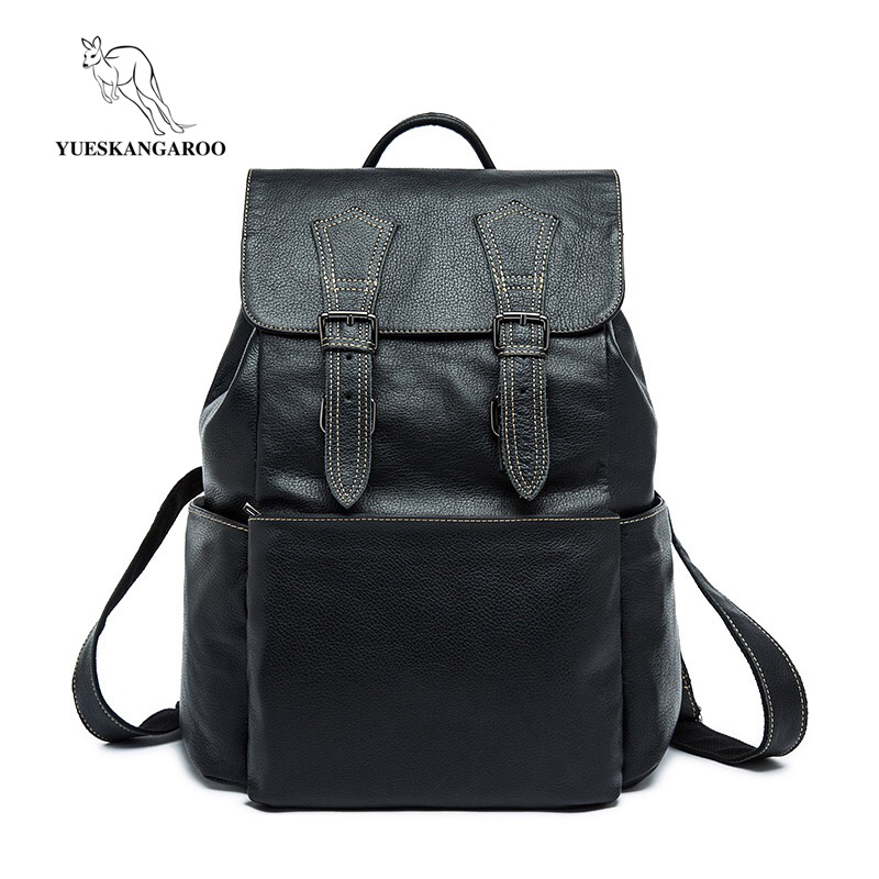 YUESKANGAROO New Fashion Men's Genuine Leather Backpack Bag Male Laptop Backpack high school student college student bag male men genuine leather fashion travel university college school bag designer male coffee backpack daypack student laptop bag 1170c