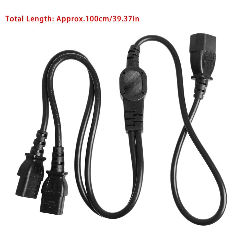 IEC C14 Male Plug To 2x IEC C13 Female Socket Y Split Power Extension Cable 1M|Connectors| |  - title=