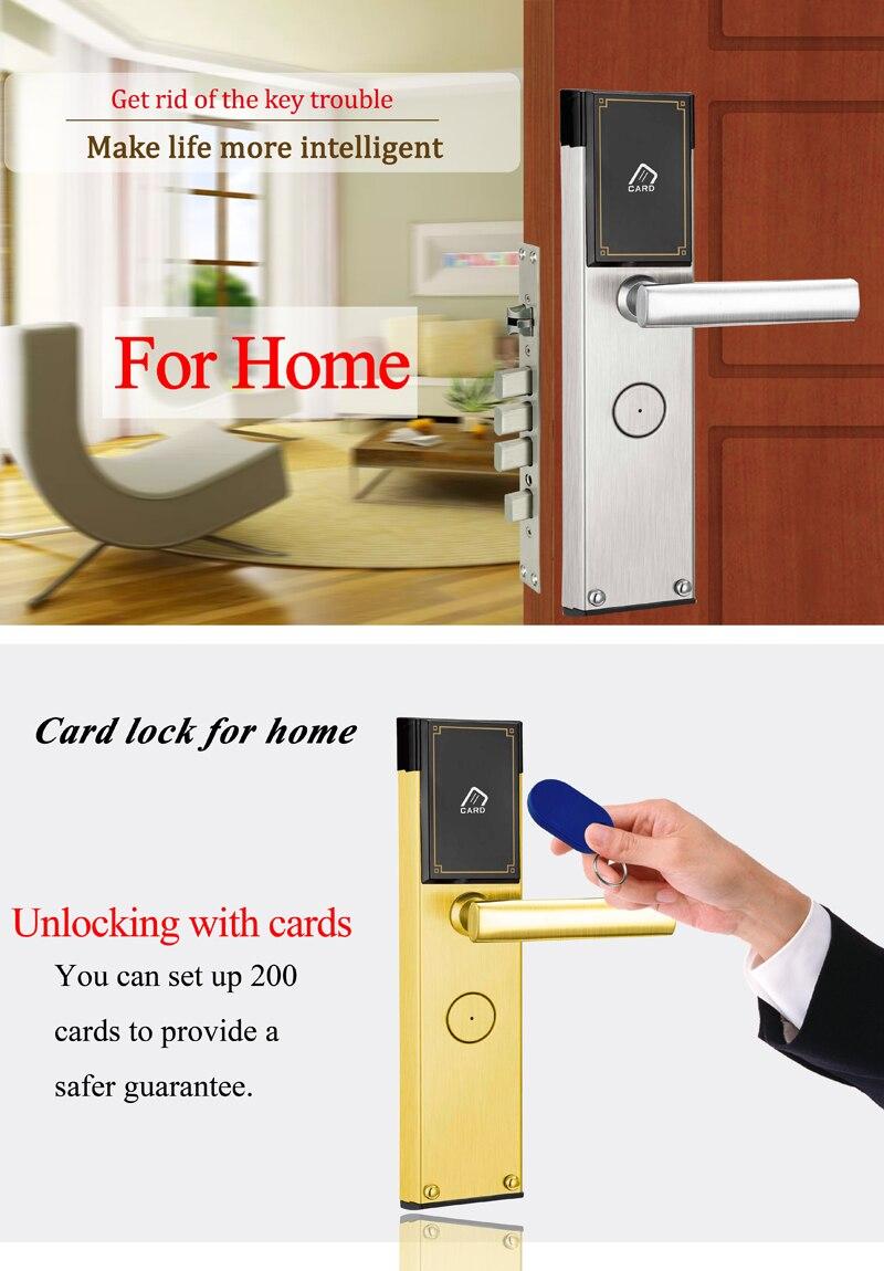 US $89 25 25% OFF|Hotel Electronic Smart Keyless RFID Card Door Lock  Digital Access Control Key Card Hotel Lock Door-in Electric Lock from  Security &