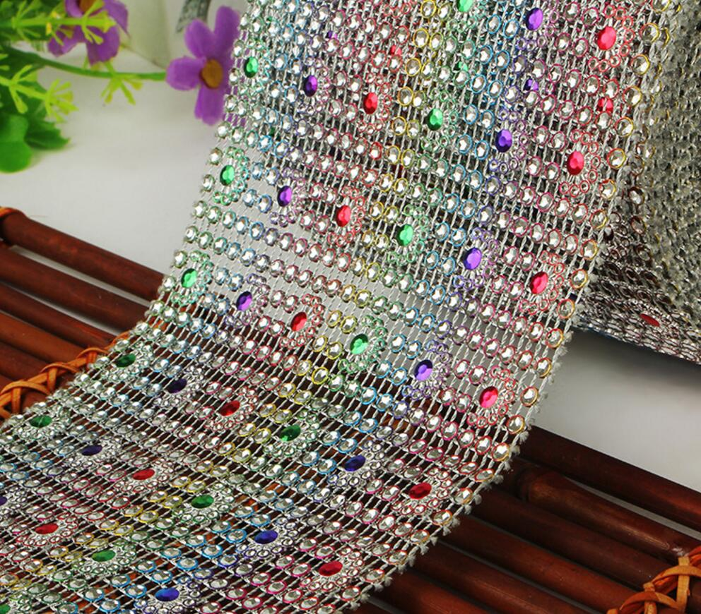 10Yard Multicolor Flower Bendable Mesh Wrap Roll Sparkle Rhinestone Trim Ribbon For Wedding Gift Party Craft Decoration