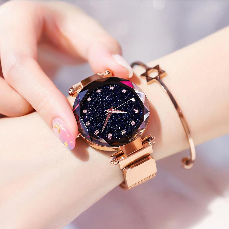 2019 Luxury Rose Gold Women Watches Fashion Diamond Ladies Starry Sky Magnet Watch Waterproof Female Wristwatch For Gift Clock