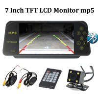 bluetooth 7 Inch TFT LCD Car Monitor mp5 2 AV in with 4 led night vision rearview camera wireless receiver transmitter kit