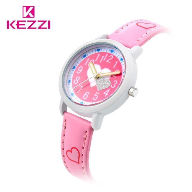 KEZZI Love Hearts child Watches Girl Leather Printing Strap Cartoon Kids Watch Students Quartz Wristwatch Casual Fashion Horloge