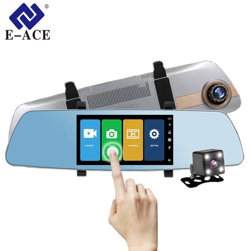 E-ACE Автомобильный видеорегистратор ночного видения зеркало заднего вида авто dashcam DVRs 5 дюймов Сенсорный экран видеорегистратор FHD 1080 P двух к...