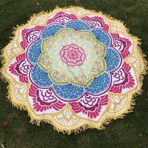 Image 3 - Women Chic Tassel Indian Mandala Tapestry Lotus Printed Bohemian Beach Mat Yoga Mat Sunblock Round Bikini Cover Up Blanket
