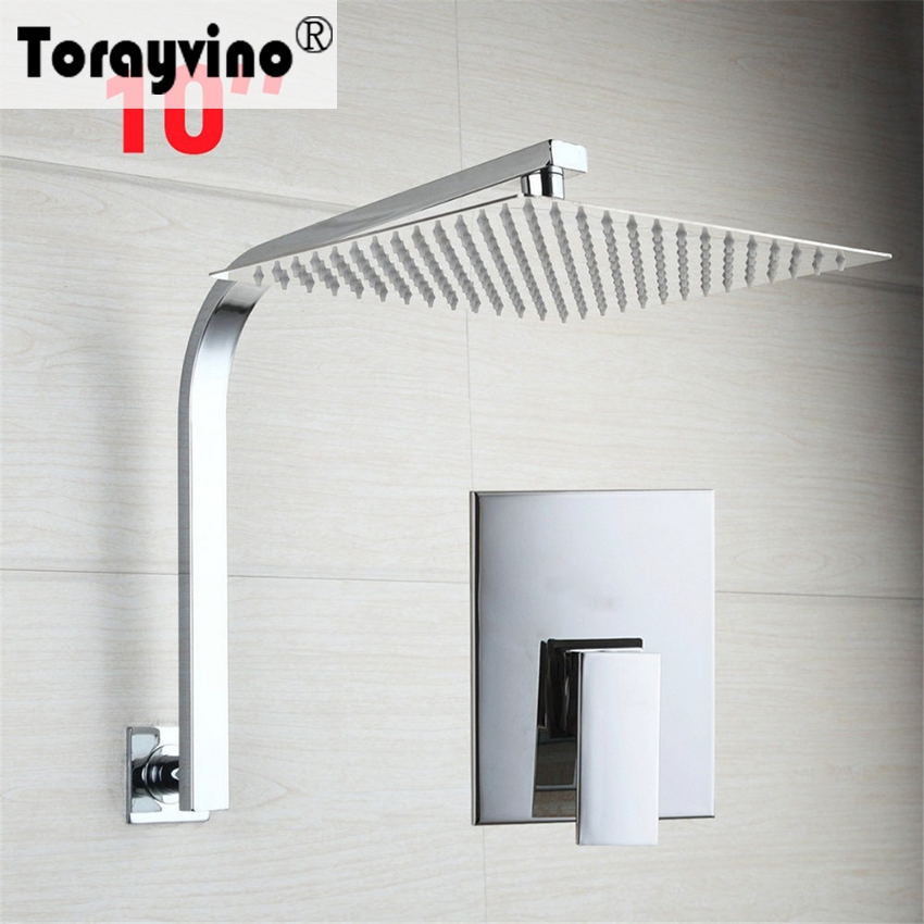 Torayvino Simple Sumptuous 10 inch Shower Faucet Chrome Polished Ceramic Wall Mounted Hot Cold Water Mixer Bathroom Faucet free shipping polished chrome finish new wall mounted waterfall bathroom bathtub handheld shower tap mixer faucet yt 5333
