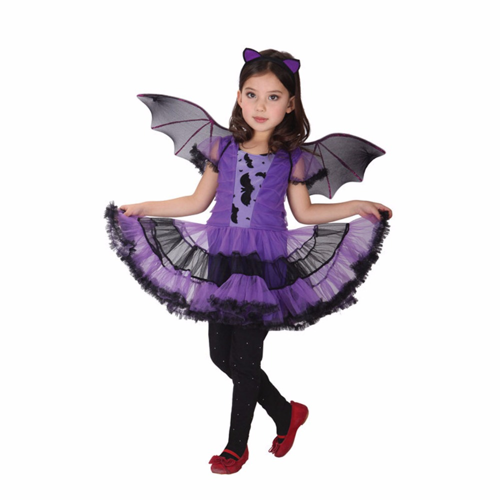 Halloween Children Cosplay Costumes Girl Kids Cosplay Halloween Masquerade or Birthday Party Clothing Suits Bat Girl Dresses купить