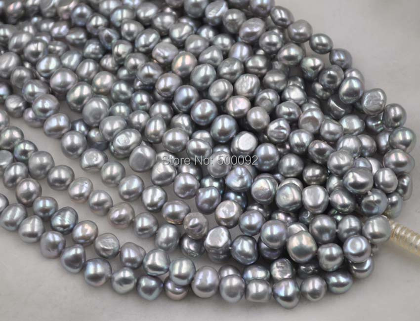wholesale 5 strands genuine 9 10mm freshwater cultured Baroque pearl strings gray color