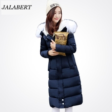 2016 Women Winter Warm Parka Cotton Inverno padded jacket Women Long Female Fur Collar Shirt Thickening Plus X-Large Size Coat