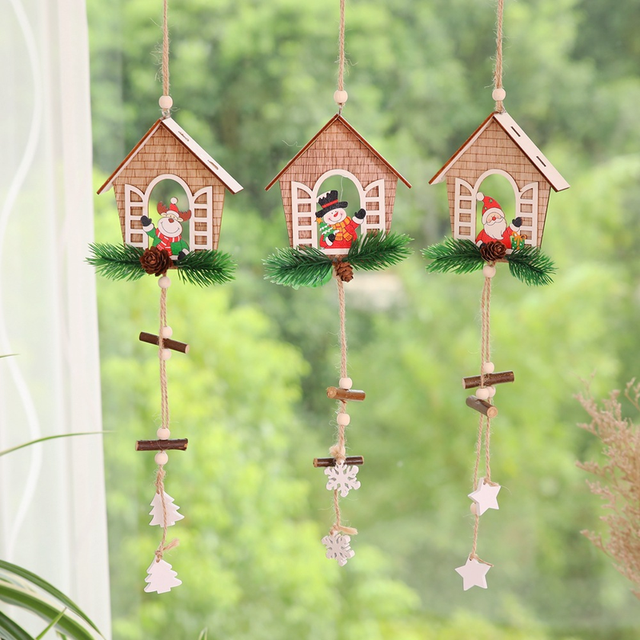wooden santa house hanging pendants christmas crafts christmas decorations for tree outdoor christmas ornaments navidad 2018