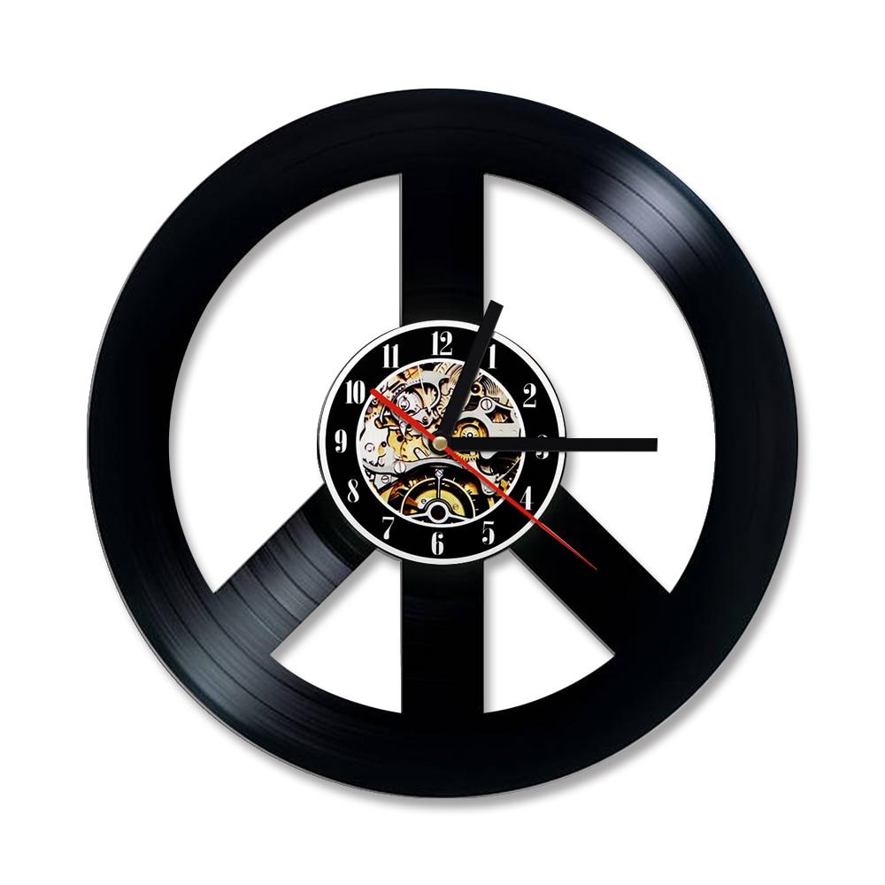 Hollow 3D Creative Peace Symbols Vinyl Record Clock Black Round Peace Sign  Wall Clock Unique Wall Clock Home Decor In Wall Clocks From Home U0026 Garden  On ...