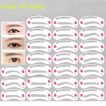 24 Pcs Reusable Eyebrow Stencil Set Eye Brow DIY Drawing Guide Styling Shaping Grooming Template Card Easy Makeup Beauty Kit недорого