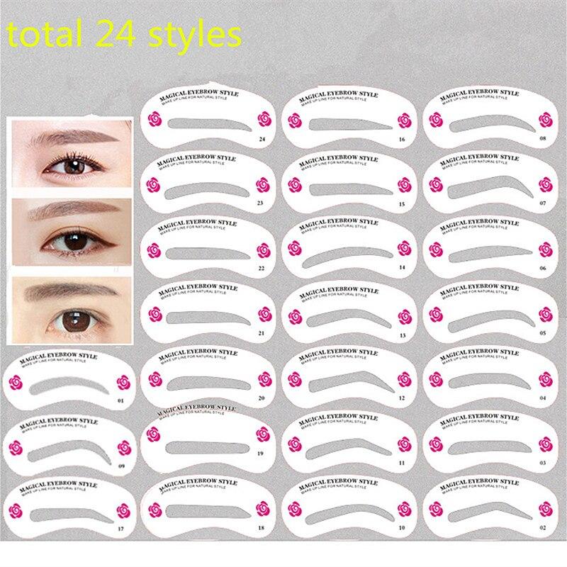 181 21 De Réduction24 Pièces Ensemble De Pochoir à Sourcils Réutilisable Sourcils Bricolage Dessin Guide Stylisme Façonnage Toilettage Modèle