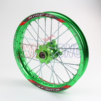 Green Pit Bike Racing 1.40 14 Inch Alloy Front Wheel Rim with CNC Hub 32 holes for tyre PIT PRO Thumpstar KTM CRF