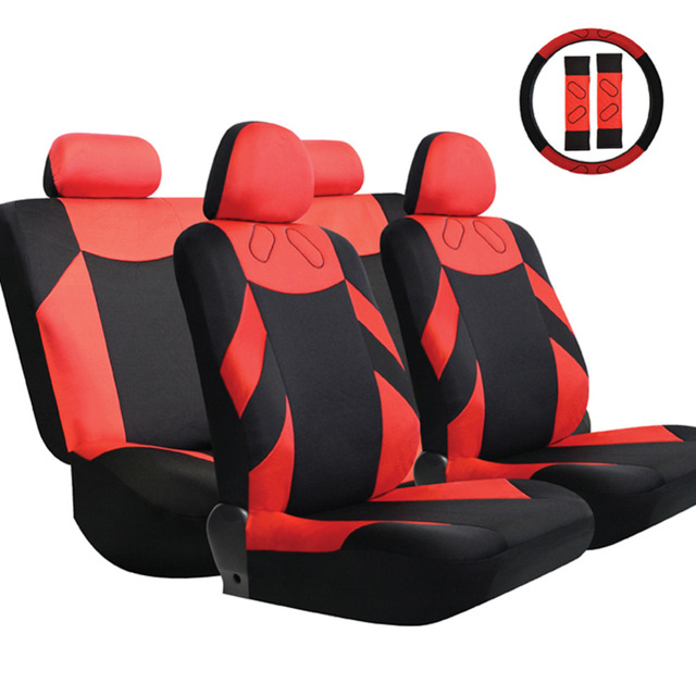 Hot Selling Car Seat Covers Universal Fit Polyester 3mm Composite Sponge Car Styling +Steering Wheel Cover Seat Cover AccessorY