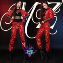 Asian Festival MAMA the same style Red Chinese style embroidered jackets pants women's costumes black mesh jumpsuits Coats