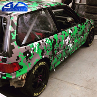 Green Military Camo Large Pixels Camouflage Vinyl Car Wrap With Air Bubble Free For Scooter POLO