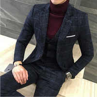 3 Pieces 2019 Suits Men British New Style Designs Royal Blue Mens Suit Autumn Winter Thick Slim Fit Plaid Wedding Dress Tuxedos