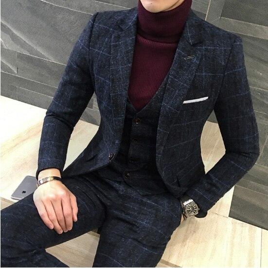 3 peças 2019 Projetos Royal Azul Terno Dos Homens Ternos Dos Homens Novo Estilo Britânico Outono Inverno Grosso Slim Fit Casamento Xadrez vestido de Smoking