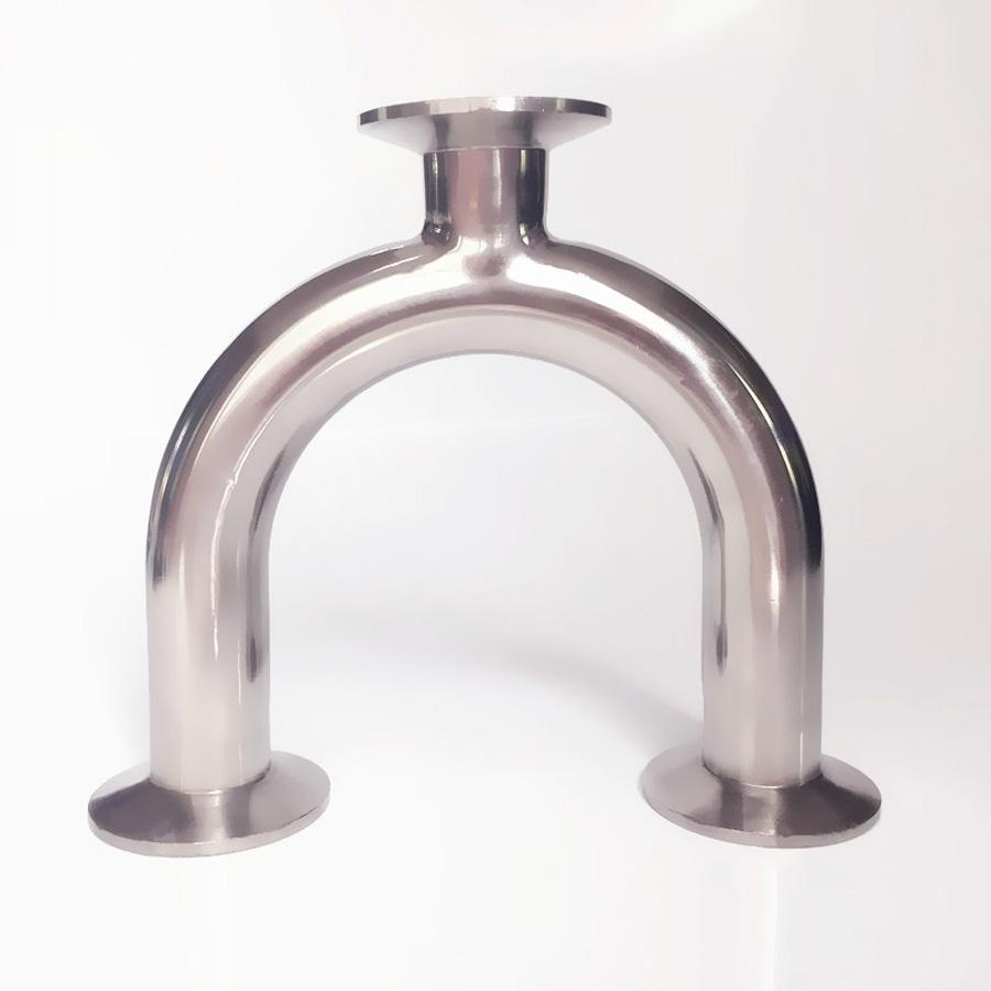 51mm 2 Pipe OD 2 Tri Clamp U Shaped Return Bend 3 Way SUS 304 Stainless Sanitary Fitting Spliter Homebrew Beer 2 tri clamp sanitary 90 degree elbow 51mm pipe od 304 stainless steel fitting 64mm feerule od for homebrew