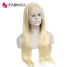 Fabwigs Glueless Full Lace Wig 150% Density Silky Straight #613 Blond Pre Plucked Human Hair Wig For Black Women Remy Hair