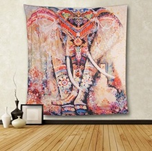 Lotus Mnadala Elephant Tapestry Wall Hanging Decor Indian Home Hippie Bohemian Tapestry for Dorms Polyester Fabric Wall Art