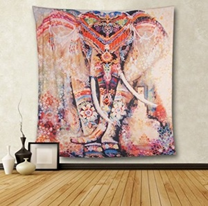 Image 1 - Lotus Mnadala Elephant Tapestry Wall Hanging Decor Indian Home Hippie Bohemian Tapestry for Dorms Polyester Fabric Wall Art