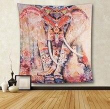 Гобелен в виде слона Lotus Mnadala, Настенный декор, индийский домашний богемный гобелен в стиле хиппи Для общежитий, ткань из полиэстера, настенное искусство