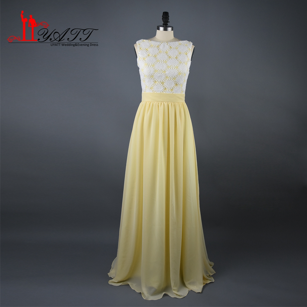 Yellow Chiffon Bridesmaid Dresses Sleeveless Lace Top Lemon Gowns Long Floor Length Robe Demoie D Honneur Custom Made D0445 On Aliexpress Alibaba