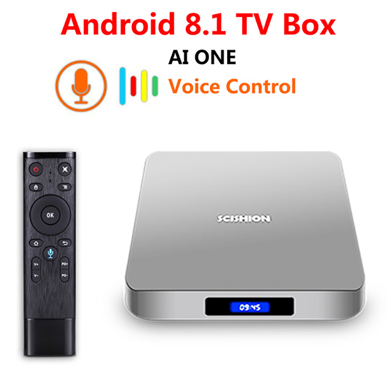SCISHION AI ONE Android TV Box android 8.1 4GB RAM 32GB ROM WiFi BT4.0 Media Player Display Screen Voice Control H.265 4K tv box цена 2017