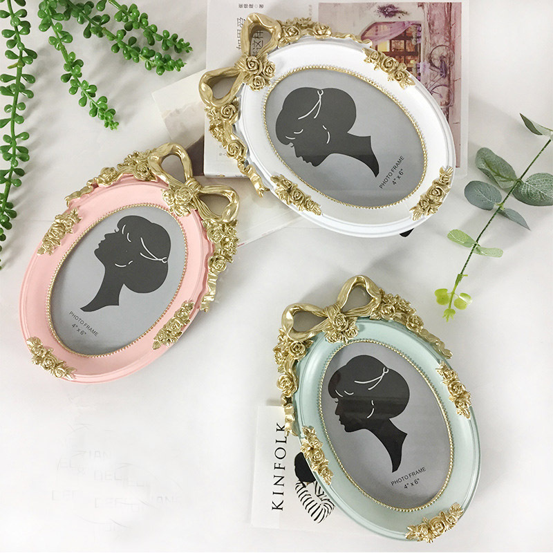 Retro 6 inch photo frame with bow photo frame green /pink/ white