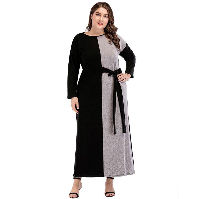 Женское платье-Кафтан Abayas, мусульманское платье со вставками и поясом в Дубае, размер XXL 3XL 4XL