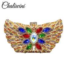 купить Chaliwini New Fashion Women Evening Clutch Wedding Bags Shoulder Chain Purses Lady Luxury Diamond Crystal Flower Party Handbags недорого