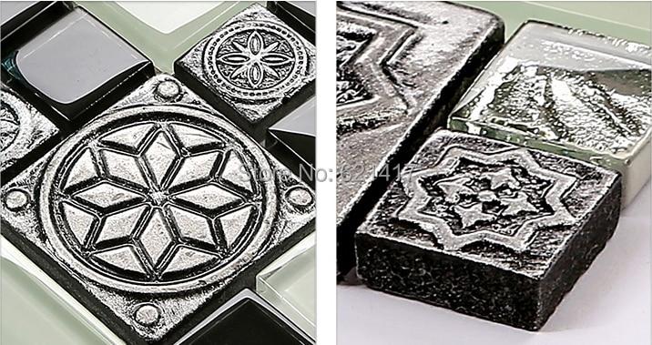 Mosaico bianco e nero grigio europa d sollievo resina intagliato