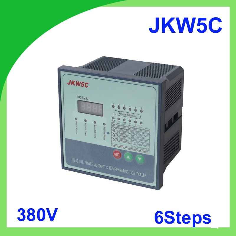 JKW5C JKL5C power factor 380v 6steps Reactive power automatic compensation controller capacitor for 50/60HZ jkw5c 12 power factor regulator compensation controller for power factor capacitor 12steps 380v