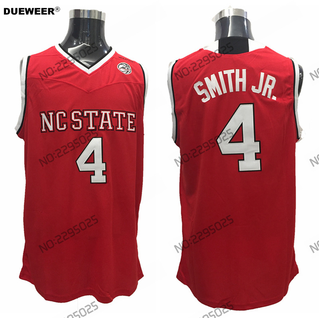 DUEWEER Mens Throwback 4 Dennis Smith Jr NC State Wolfpack College  Basketball Jersey All Embroidery Red White Color 995aa5dbf