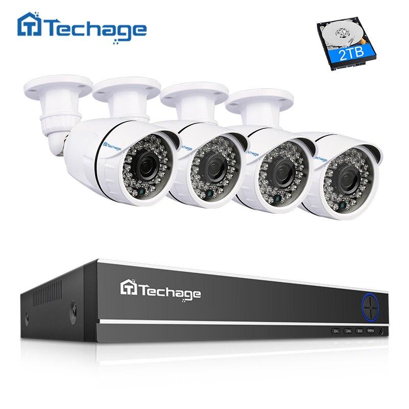 Techage 4CH 1080 P HDMI DVR видеонаблюдения Системы 1080 2MP инфракрасный наружный водонепроницаемый AHD камера P2P товары теле и комплект 1 ТБ HDD