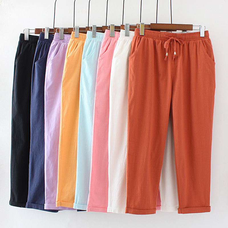 Women's Casual Straight   Pants   Female Loose Elegant Fashion Summer   Pants     Capris   Slim Women Cotton Linen   Pants   Plus Size 4XL