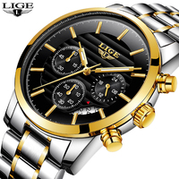 LIGE Men Watch Luxury Brand Full Steel Quartz Watches Men Military Waterproof Dress Sport Man Fashion