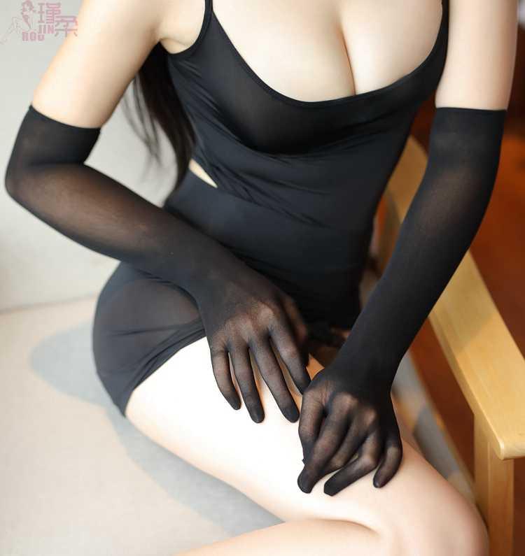 Sexy Rendas de Seda Transparente Protetor Solar Luvas Longo Dedo de Luva Clube Costume Erotic lingerie Festa À Noite Tentação Mitten