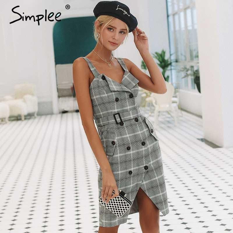 Короткое женское платье Simplee с высокой талией, двубортное клетчатое платье с ремешком для офисной леди, повседневное платье для осени и зимы