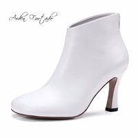 Arden Furtado 2017 Autumn Winter Genuine Leather High Heels Square Toe Hoof Heels White Ankle Boots
