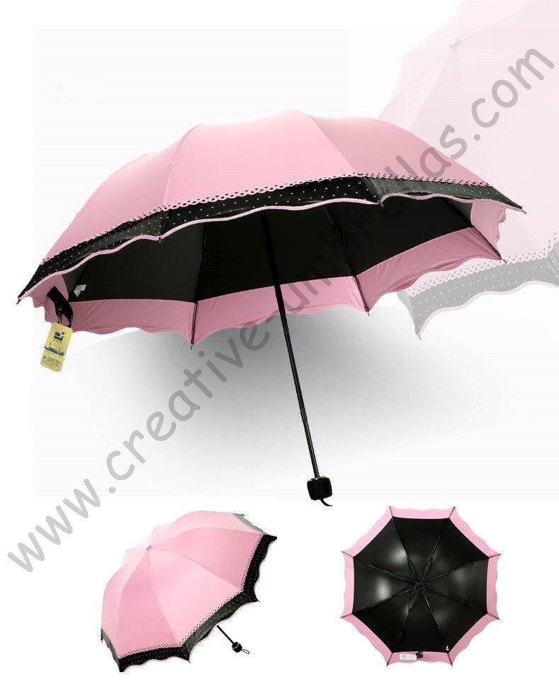 Женские Лето 100% солнцезащитный крем UPF> 50 + зонтик мини 5 раз черное покрытие УФ Защита женщины два слоя кружевной зонтик