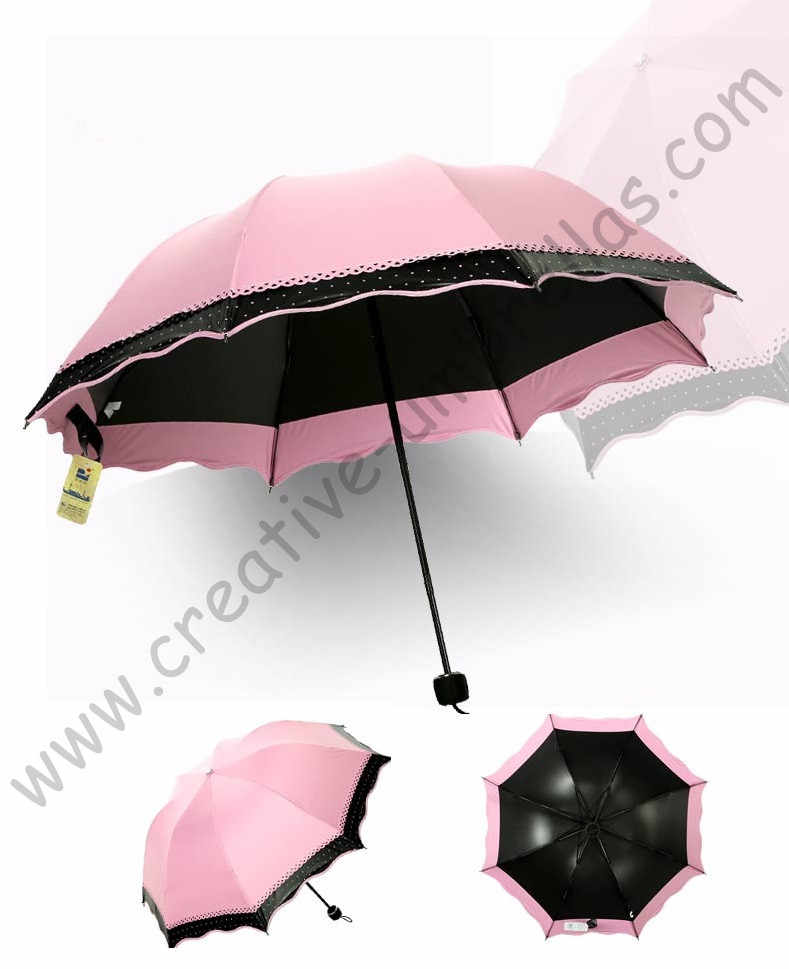Femmes été 100% crème solaire UPF> 50 + pliant mini parapluie 5 fois noir revêtement UV protection femmes deux couches dentelle parasol