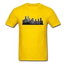 Free Shipping Christmas Street T Shirts New York City Buildings Graphic T-Shirts Yellow Fashion Short Sleeve Clothing Shirt