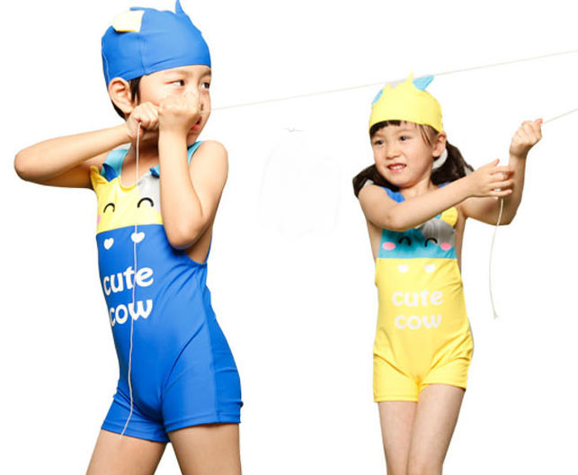 Free Shipping Little Cow One Piece Childrens Swimsuit With Cap,Bathing -9843