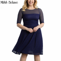 2017 Casual Dot Half Sleeve Lace Summer Party A Line Dress Vintage O Neck Plus Size