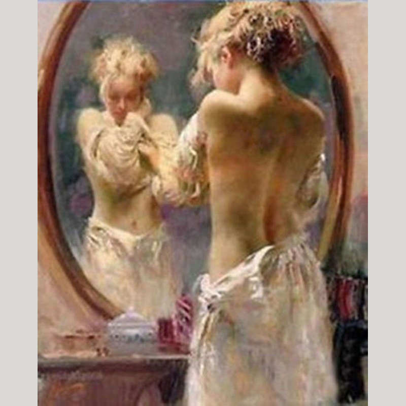 hand-painted art abstract oil painting The woman in the mirror home wall living room canvas painting Home Decorationhand-painted art abstract oil painting The woman in the mirror home wall living room canvas painting Home Decoration