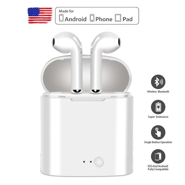 i7s TWS Wireless Earbuds Sport Bluetooth Earphone With Charging Box Mic Stereo Android Headset For All Smart Phone 5