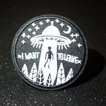 Pulaqi UFO Rock Patch Stranger Things Embroidered Patches For Clothing Iron On Patches For Clothes DIY Punk Applique On Clothes леска dewalt dt20651 qz 68 6 м диаметр 2 мм